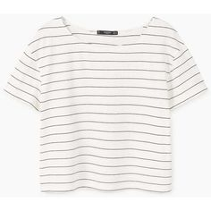 Striped Cotton T-Shirt (710 RUB) ❤ liked on Polyvore featuring tops, t-shirts, white cotton tops, short sleeve tee, short sleeve t shirts, stripe tee and stripe t shirt
