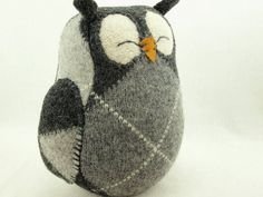 Owl Felt Wool Recycled Home Decor Owl with Lamb by ForMyDarling, $29.00