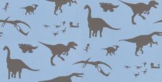 D'ya-think-e-saurus Blue (DTES Blue) - PaperBoy Wallpapers - Children's dinosaur wallpaper in a soft blue with dinosaurs and a small boy in a chocolate brown. Please request sample for true colour match.