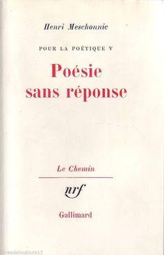 #essai littéraire : Pour La Poétique Tome 5 : Poésie Sans Réponse par Henri Meschonnic. Le projet de cette étude est de montrer que, si l'écriture est une tension vers l'unité du livre et du vivre, le discours sur l'écriture, lui, pour rendre compte de ce qui se passe en elle, doit lui être homogène, tirer de l'écriture ses critères et ses concepts, tourner le dos à la pensée dualiste qui règne encore dans l'enseignement de la littérature. Ainsi cette recherche ne peut pas ne pas être…