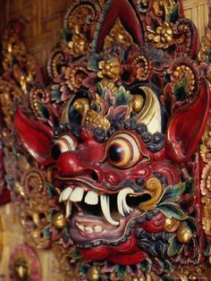 Bali, masks have powerful magical qualities. Mas (near Ubud) is the centre for mask carving in Bali. Barong Bali, Chinese Mask, Sculpture Art, Sculptures, Bali Lombok, Japanese Mask, Indonesian Art, Masks Art, Masks For Sale