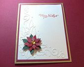 4 Poinsettia Handmade Christmas Cards, Embossed, Gold, Red and White. $10.00, via Etsy.