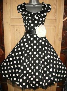 BLACK POLKA 8 DOT SWING VTG 1950s vibe PROM pin up TEA dress ROCKABILLY JIVE | eBay