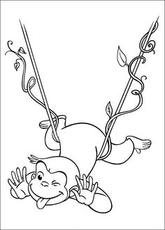 curious george coloring picture--this site has tons of other george coloring pages too