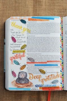1 Thessalonians 5:18, October 25, 2017 Carol@Belleauway.com   GRATITUDE DOCUMENTED 2017, Illustrated Faith Pen, Faber Castell Pitt Artist pens, IF Print and Pray leaves and words, my personally designed watercolor stickers, Washi tape, Bible Art Journaling, Journaling Bible, Illustrated Faith