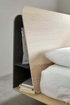 headboard storage–Kauffman by Nadadora – Mobenia Home Bar Furniture, Shabby Chic Furniture, Bedroom Furniture, Furniture Design, Bedroom Decor, Cheap Furniture, Oak Bedroom, Furniture Buyers, Furniture Dolly