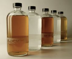 Five piece sand etched glass decanter set 500 ml  by thesmARTaleck, $150.00