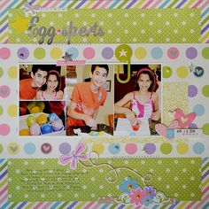 Easter Egg scrapbook page using Simple Stories Encahnted Collection