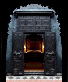 Black Doors to Master Bedroom