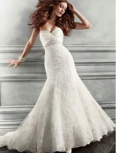 Lace Sweetheart Neckline Mermaid Wedding Dress with Beaded Embelishment - Bridal Gowns - goodcheapweddingdress