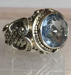 Stephen-Dweck-Sterling-Silver-Topaz-Cocktail-Ring-Sz-6-75/ Large Stone Settings