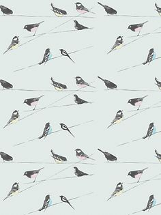 Buy Louise Body Garden Birds Fabric, Blue online at JohnLewis.com - John Lewis