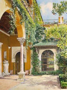 Patio de la Casa de Pilatos, Sevilla - Acuarela sobre papel - 62x43,5