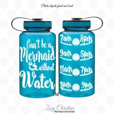 cant be a mermaid without water bottle, Mermaid water bottle, Mermaid water bottle with tracker. water tracker bottle, beach life, beach cup, mermaid life, mermaid gifts, Zoey Christina