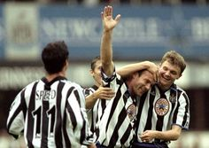 Alan Shearer of Newcastle United celebrates one of his five goals scored in an win over Sheffield Wednesday, September 1999 Newcastle Football, Newcastle United Fc, Bobby Robson, Alan Shearer, Sheffield Wednesday, St James' Park, Magpie, Preston, Mac