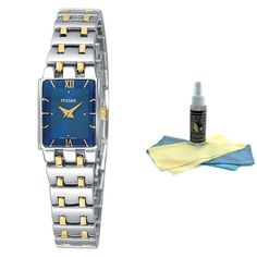 Pulsar PEG363 Women's Blue Dial Two Tone Stainless Steel Watch with 30ml Ultimate Watch Cleaning Kit