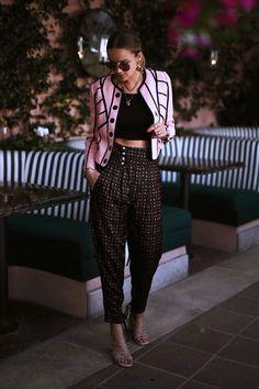 crop top with harem pants and pink blazer