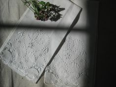 Sweet vintage hand towels ~ a set of white on white linen, embroidery, cutwork, scallops, hearts, flowers
