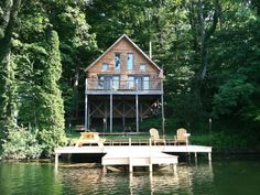 Horseshoe Lake Vacation Rental - VRBO 509076 - 1 BR Greater Niagara Cottage in NY, 900 Square Foot Log Home in the Heart of Western NY - Sle...