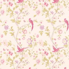 This would look wonderful, in a toilet cloakroom - Summer Palace Cerise Floral Wallpaper from Laura Ashley