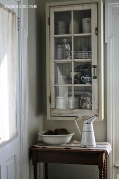 Wall Cabinet - a salvaged window is used as the cabinet front - FARMHOUSE 5540