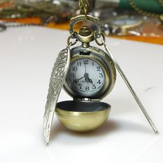 Harry Potter Necklace Steampunk Enchanted Golden Snitch