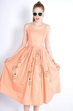 Vtg 50s Pastel Pink Hand Painted Garden Floral Full 360 Skirt Sun Dress XS S   eBay