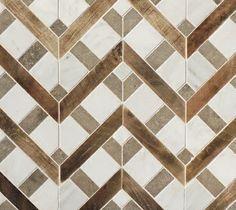 Petite Alliance - wood and stone mosaic - Tabarka Studio Floor Patterns, Tile Patterns, Textures Patterns, Wood Tile Pattern, Deck Patterns, Henna Patterns, Pattern Ideas, Design Patterns, Floor Design