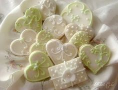 decorated large cookies | Group of cookies now decorated with gold and silver nonpareils.