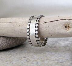 Silver Wedding Band & Stacking Rings Dot Hammered Silver Wedding Ring Engagement Ring. $65.00, via Etsy.