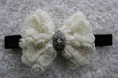 15 OFF Cream Chiffon Rosette Bow with Beautiful by cutenessbuns, $11.50