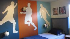 Painted Daisies: Soccer Silhouettes: A Teenage Boy's Room