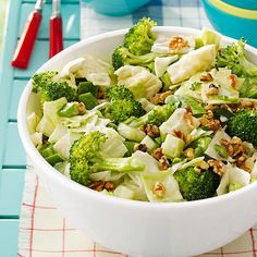 Chunky Veggie Slaw Recipe- Recipes The classic coleslaw with cabbage gets a fresh approach when you add broccoli, cucumbers, snap peas and crunchy walnuts. Cucumber Appetizers, Cucumber Recipes, Slaw Recipes, Potluck Recipes, Cooking Recipes, Vegetarian Appetizers, Thm Recipes, Broccoli Recipes, Cucumber Salad