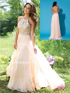 2015 Style A-line Spaghetti Straps Sweep/Brush Train Chiffon Prom Dresses/Evening Dress