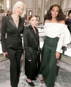 Olsens Anonymous Fashion Blog Ashley Olsen Bergdorf Goodman Drop Earrings Satin Tuxedo Coat The Row Croc Bag Solange Knowles Linda Fargo