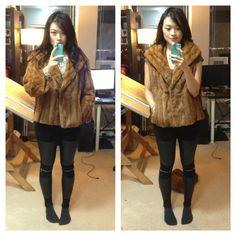 Fur coat into fur vest DIY | Source: posingvintage.com