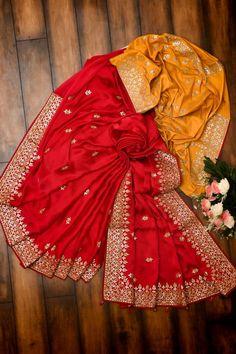 Sarees online - Designer, Party Wear, Kalamkari, Wedding Silk Sarees, Fancy Sari for women at affordable price in Samyakk. We offer wide range of latest sarees collection. Satin Saree, Red Saree, Sari, Gota Patti Saree, Indian Outfits, Indian Clothes, Casual Saree, Sarees Online, Blouse Designs