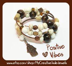 Copper hamsa wrap bracelet.  Boho chic.  Handmade.  SHOP:https://www.etsy.com/shop/MyCreativeSideJewels