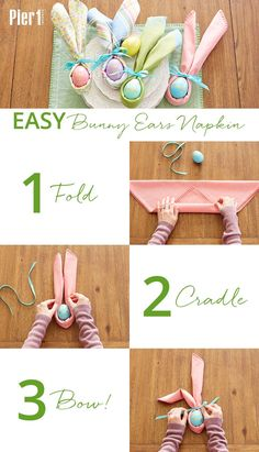When youre getting ready for a big easter gathering you probably dont have time to do a lot of complicated origami like napkin folds this one is quick easy and absolutely delightful! click the picture for more easter ideas and inspiration from pier 1 Bunny Napkin Fold, Napkin Folding, Easter Table Settings, Easter Table Decorations, Easter Decor, Easter Centerpiece, Easter Lunch, Easter Party, Easter Gift