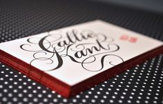 Callie Kant Red Edge Painted Business Cards 550x354 Business Card Ideas and Inspiration #11