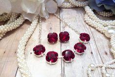 SWAROVSKI CRYSTAL NECKLACE, set, lever backs, 12mm square, five stone necklace, red, silver, choker, dksjewelrydesigns