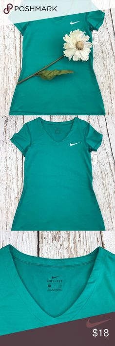 "💕SALE💕Nike Dri Fit Green V Neck T Shirt Fabulous 💕Nike Dri Fit Green V Neck T Shirt 25""from the top of the shoulder to the bottom 15"" from armpit to armpit Nike Tops Tees - Short Sleeve"