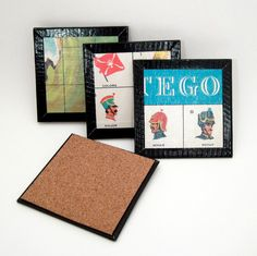 Board Game Coaster Set Stratego Coasters Recycled by ChaosToArt (though I do not like the duct tape edges.)