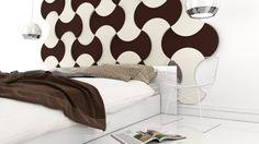 Aranżacja sypialni z wykorzystaniem miękkich paneli ściennych 3D (kolekcja BOUNCE - Fluffo, Fabryka Miękkich Ścian)