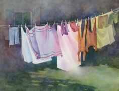 laundry on line watercolor - Google Search
