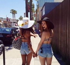 Floppy hats and bff.