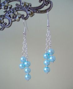Pretty Light Blue Glass Pearl Dangly Chain Silver Plated Drop Earrings