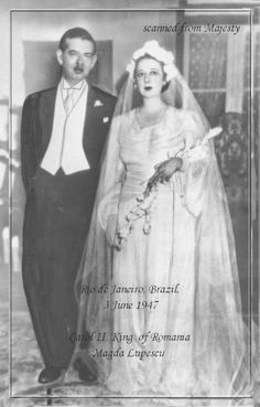 03-06-1946 Carol II & Magda Lupescu Dress Suits, Royalty, History, Wedding Dresses, Image, Blog, Formal Suits, Royals, Bride Dresses