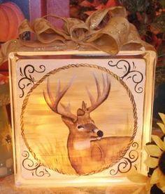 Deer painted on glass block