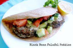 Black Bean Falafel Patties Recipe! A delicious vegan sandwich.